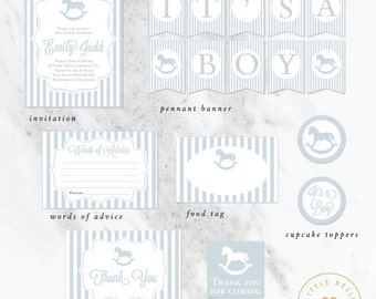 Boy Baby Shower Package / Rocking Horse Baby Shower Invite / Blue