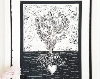 Beautiful Roots | 11 x 14 Linocut Art Print | Limited Edition Original Artwork | Block Print