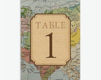 Rustic, Vintage Travel Theme Wedding Table Numbers 1-20 [Instant Download]