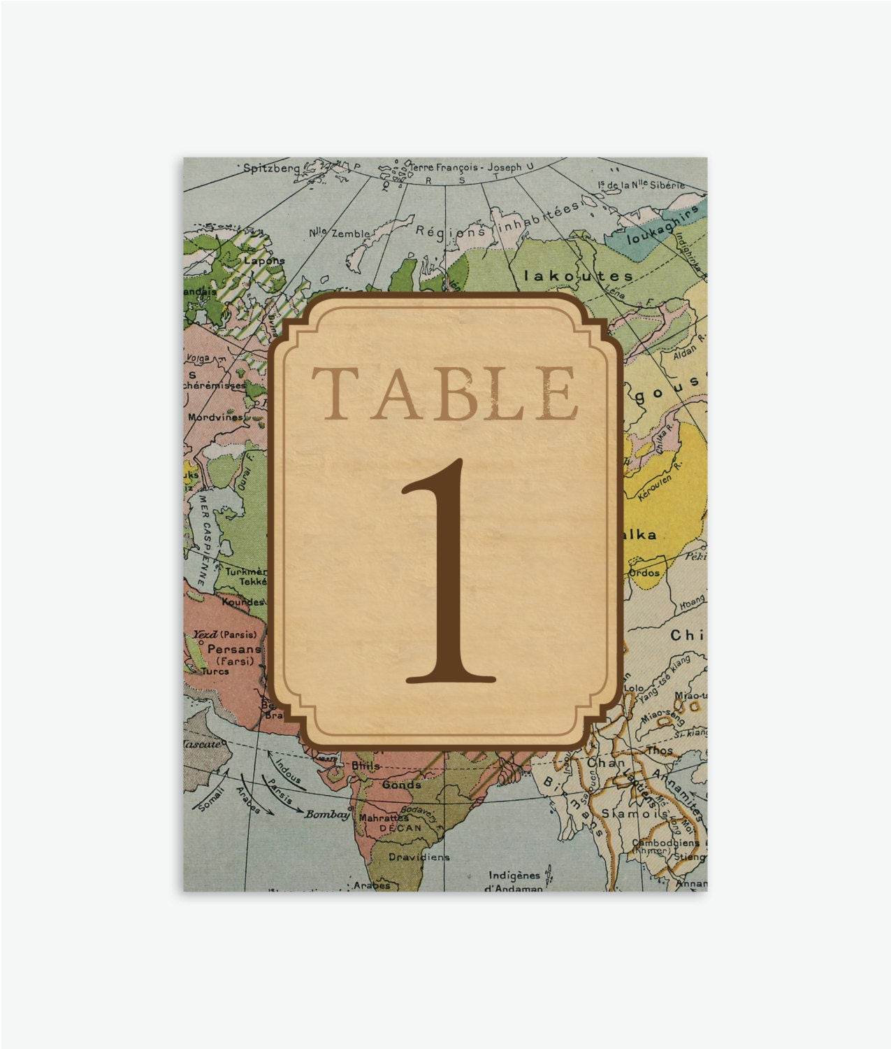 Rustic vintage travel theme wedding table numbers 1 20 for Table numbers