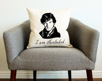 I Am Sherlocked w/ Face - Sherlock Holmes Pillow