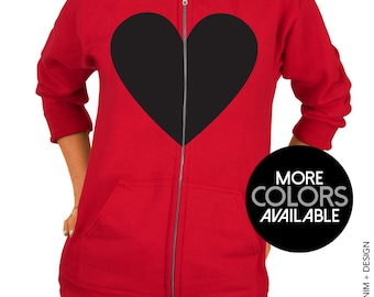 Heart Zip Up Hooded Sweatshirt - Zip Up Hoodie with Heart Graphic - Valentine's Day Zip Up Hoodie