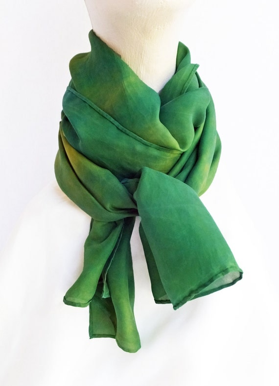 """Green and gold scarf - silk scarf - china silk -  green and gold - hand dyed - 14"""" x 72"""" - team colors"""