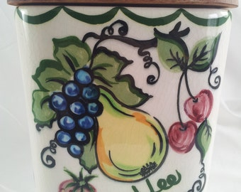 Pottery Coffee Canister Fruit Design Square Wooden Top Bauer Purinton