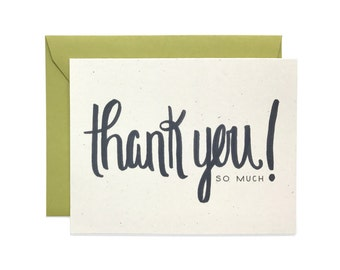 Hand Lettered Thank You (So Much) Card, Thank You Card