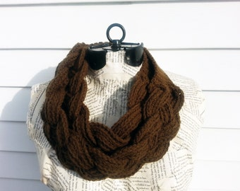 Chunky Brown Infinity Scarf - Neutral Color Cowl - Crochet Infinity Scarf - Chunky Brown Cowl - Brown Crochet Cowl - Brown Crochet Infinity
