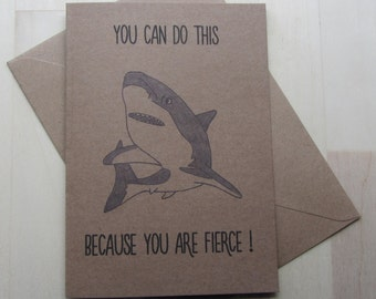 Illustrated Shark Greeting Card, You Are Fierce Encouragement Humor Card, Get Well Support Card, Chemo Treatment Card for Children