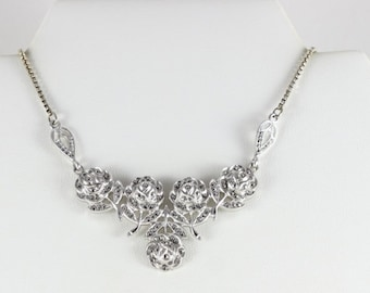 Sterling Silver Marcasite Flower Necklace 16 inch Chain