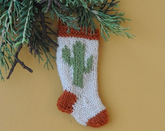 Cactus Hand-Knit Christmas Stocking Ornament