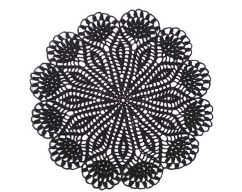 handmade crochet doily, flower doily, black doily, 12 inches