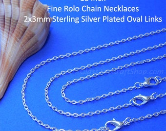 25 Fine Rolo Chain Necklaces, 18 Inch, 2x3mm Sterling Silver Plated Oval Links,  DIY Necklaces (SSPFRCN18)