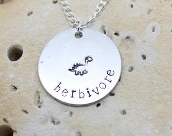 Herbivore dinosaur necklace - vegan jewellery - vegan jewelry - handstamped necklace