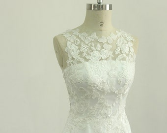 Romantic Ivory chiffon lace casual wedding dress with illusion neckline