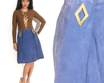 Vintage 70s Blue Suede High Waist Skirt Gold Hardware Diamond Cutout Avant Garde
