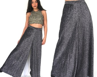 Vintage 70s Black Metallic Silver High Waist Palazzo Bell Bottom Pants Hippie Glam
