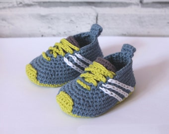 "Cute baby Sneaker Crochet PATTERN booties ""Federation"" Runners"" cool modern funky Crochet Pattern, Blue running shoes boys,  PATTERN ONLY"