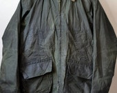 Vtg. EDWARD GODDARD Ltd. Olive Green Waxed Canvas Field Coat Barbour Bedale Style Zip Front Patch Pockets Size 40 M Medium