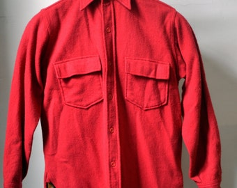 Vtg. DRYBAK Red Wool Long Sleeve Shirt Overshirt Size M Medium