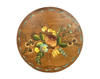Hand painted wooden plate vintage round wood plaque flower design