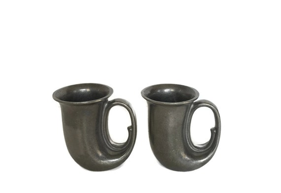 Vintage RWP armetale mugs heavy metal goth drinking cups medieval wedding
