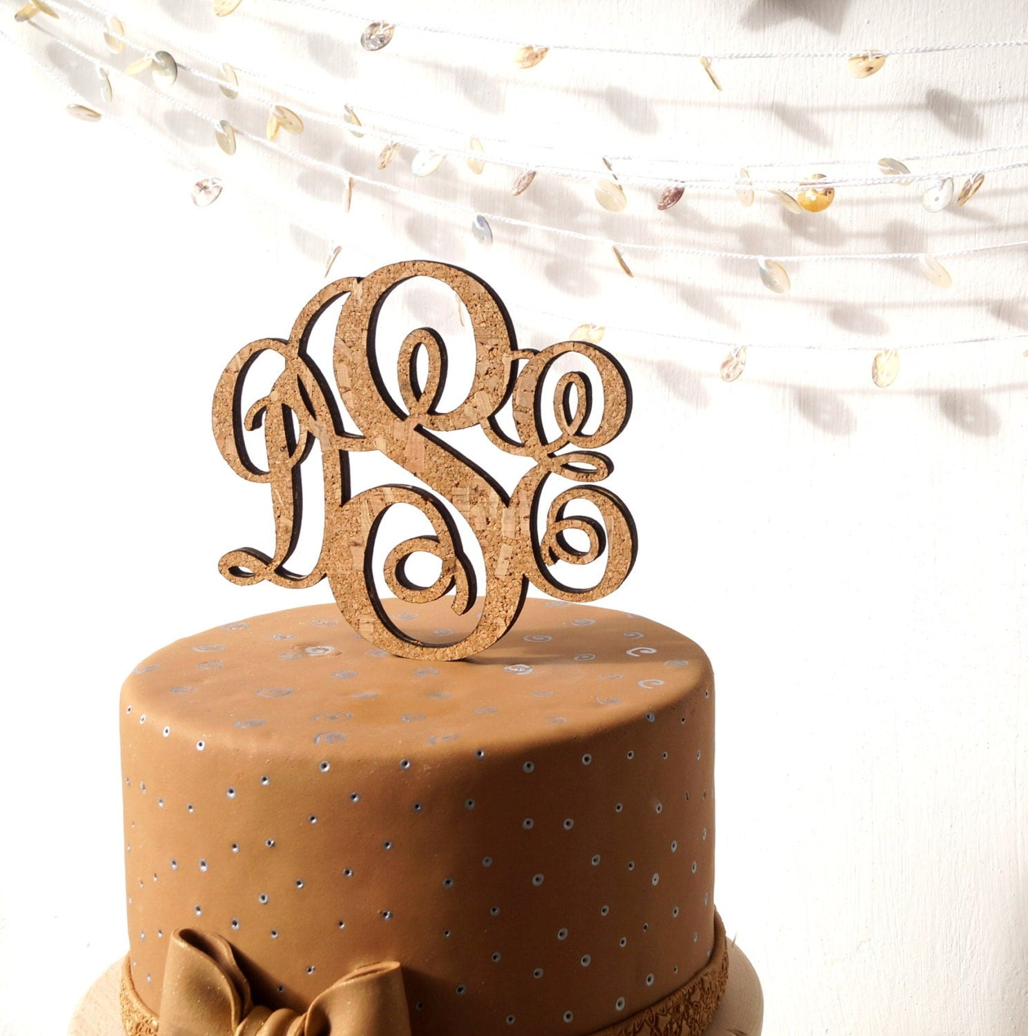 Rustic monogram cake topper wedding cake topper personalize