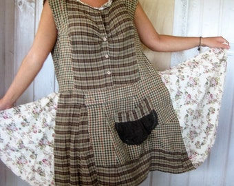 Plus size Altered  Shabby Chic Upcycled Dress