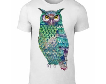 Eagle Owl Tshirt, Turquoise Owl Clothing, Valentine's Day Gift, Owl Anniversary Present, Cute Owl Illustration Tee Gift, S M L XL