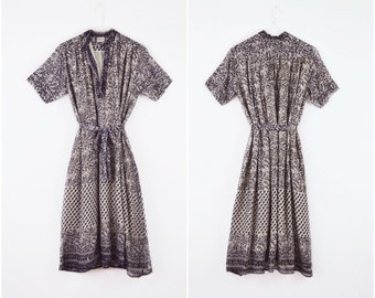 Black Gray Gauze Dress // vintage 70s Indian cotton dress Floral block print Boho dress 1970s Deadstock India hippie gypsy dress Size Medium