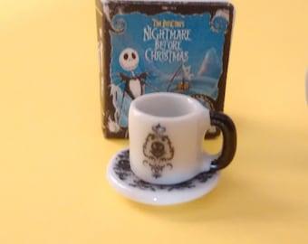 Dolls house miniature Nightmare Before Christmas ceramic mug and saucer