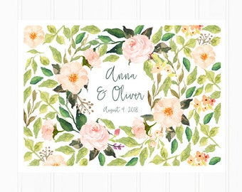 Guest Book Poster, Watercolor Flowers in Peach and Pink, Boho Wedding Guestbook