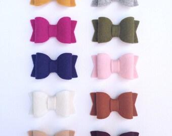 Felt Bows | Small Felt Bows | Wool Felt Baby Bows | Felt Bow Baby Headband | Felt Bow Headband/Clip | Small Felt Bow Headband | Felt Bows