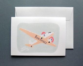 Retro Bon Voyage Card, Retro Farewell Card, Good luck, Mid-Century 1960s Bon voyage card, Travelling Card, Going Away Greeting Card