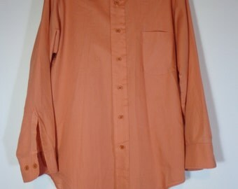 Van Heusen Vanopress Men's True Vintage 70's Fashion Dress Shirt Peach Orange Color