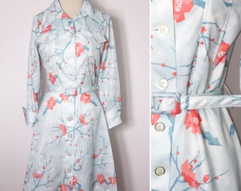 Vintage Skater Dress / Womens Dress Medium / 1970s Dress / Floral Dress / 1970s Dress Medium