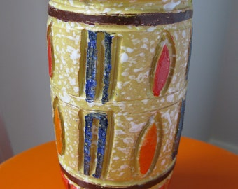 Vintage 1960's Italian Ceramic Pottery Vase - Mid Century Modern Italy