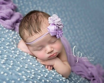 Flower Headband, Baby Girl Headband, Purple Headband, Purple Flower, Newborn Headband, Newborn Photo Props, Photo Prop, Photography Prop