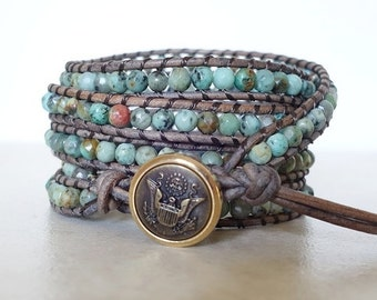 African turquoise wrap bracelet/ Boho chic 5 wrap/ Beach gemstone leather ladder bracelet/ blue yoga
