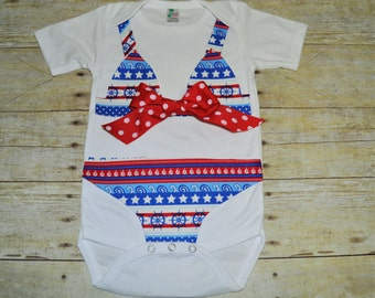 red, white and blue nautical bikini onesie,  bikini bodysuit, bathing suit onesie,baby swimsuit, 4th of july bikini, aqua, baby shower gift