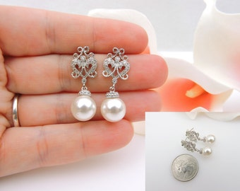 FREE US Ship Victorian Style Cubic Zirconia Stud And Swarovski Pearl Bridal Earrings Vintage Style CZ Stud And Pearl Bridal Earrings