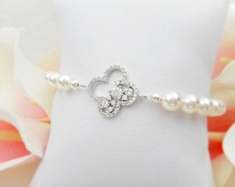 FREE US Ship Cubic Zirconia Embellished Clover And Swarovski Pearrl Bridal Bracelet CZ And Pearl Bridal Bracelet Cz Clover Bridal Bracelet