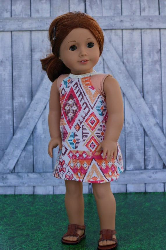 Doll Clothes   Trendy Boho Print Woven HALTER DRESS for 18 Inch doll such as American Girl Doll