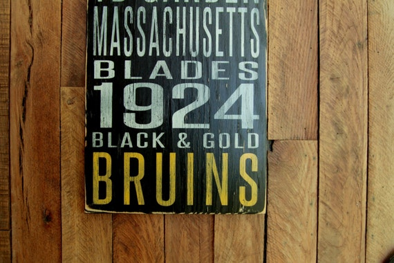 Boston Bruins Distressed Wood Sign--Great Father's Day Gift!