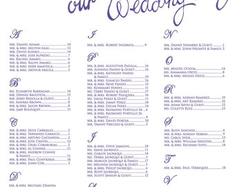 Floral Wedding Seating chart, Watercolor Seating chart, Purple Seating Chart , Seating chart board, PRINTED & SHIPPED,Item #FB-16
