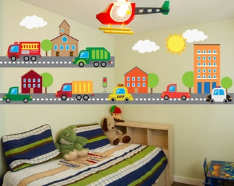 Truck Wall Decal - Kids Room Wall Decals  - Transportation Wall Decal - Boys Room Wall Decals - Nursery Wall Decals