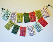European Village Printable Advent Calendar - Hand Drawn Instant Download DIY Christmas Decor