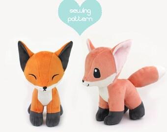"PDF sewing pattern - Baby Fox stuffed animal with video tutorials - chibi kawaii wolf Pokemon plushie DIY canine dog plush 12"""