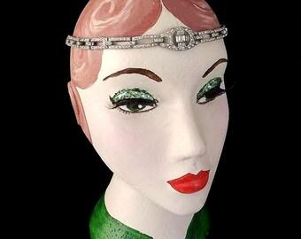 Original Vintage Art Deco Forehead Band, 1920's Browband, Flapper Headpiece, Paste, Hair Chains, Gatsby, Bridal Headpiece, Wedding, Circlet