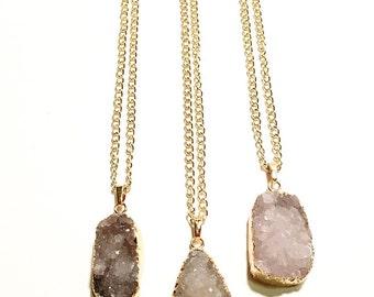 Druzy Necklace, Druzy jewelry, Drusy Necklace, Gold Druzy Necklace, Druzy Pendant, Long Necklace, Geode Necklace, Layering Necklace, Druzy