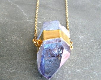 Aqua Aura Crystal Point Gold Necklace