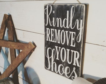 Kindly remove your shoes vertical sign handmade- wood-distressed